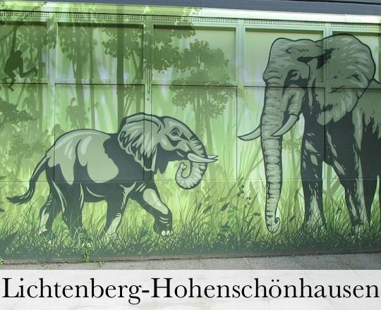 Wand mit gemalten Elefanten für Gesangsunterricht Berlin Lichtenberg-Hohenschoenhausen